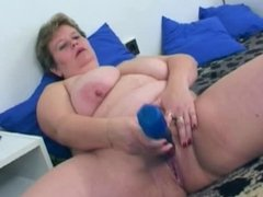 Mature BBW Polly with young man