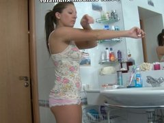 Man working up hot girlfriends ass in the bathroom
