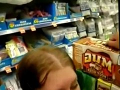 Amateur Blowjob in the Soft Drink Aisle