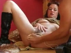 Hairy german MILF fisted and toyed