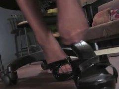 blonde teasing in stockings