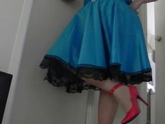 Sissy Ray in Blue Dress and Red Shoes