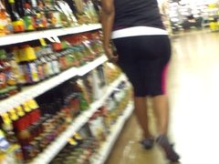 Wide Black Ass In Spandex Jumpsuit..