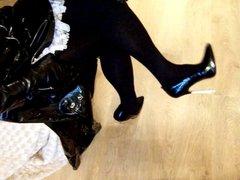 Cum on long boots in high heels in coat