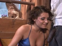 Brunette enjoys two big black cocks