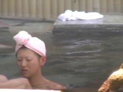 japan public spa young girls nature bush