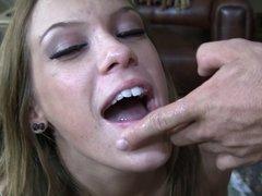 Haley Sweet devours a mouthful of creamy goodness