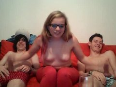 Amateur teen jerking friends on After party