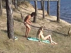 Killer hot nude couple fucking on the desolate river bank