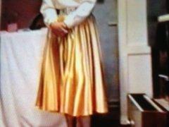 Gold Satin Skirt Wife Dominated by Pervy Husband