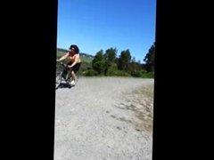 Nice big boobs bounce on bike