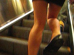 Voyeur teen in skirt hot shinny legs