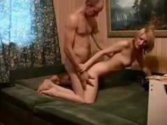 Amateur blonde getting fucked by old guy
