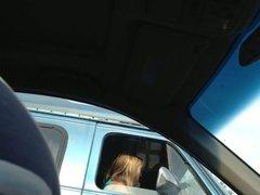 Flashing MILF at the traffic light