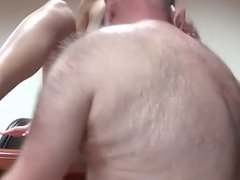 Straight bear with girl fuck on a desk
