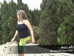 POV sex on the roof of the countryhouse with Hot MILF
