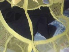 yellow sheer thong