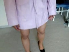 Asian in pink leather coat and shoes
