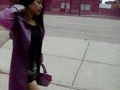 Asian in purple leather coat