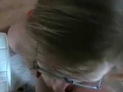 Call Girl In Red BJ And Facial On Glasses