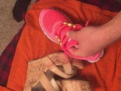 Cum on wifes nike frees and guess wedges