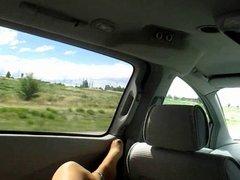 CD lisa riding in van posing legs Pt 2