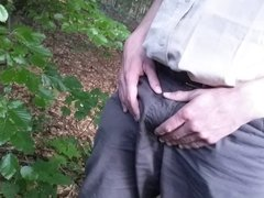 Get naked and a handjob in the woods
