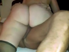 Hubby films wife riding cock