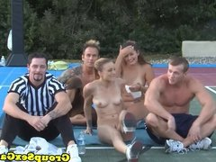 Sporty amateurs playing party games sucking