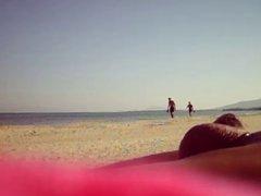 FLASHING BEACH PASSING COUPLE 2