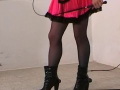 Italian mistress whipping and ball kicking