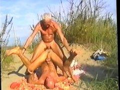 Tanned beach daddies bareback, with spectators