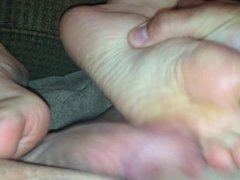 Amateur wife footjob part 1