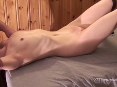 Peite girl get facefucked and then fucked hard by a older