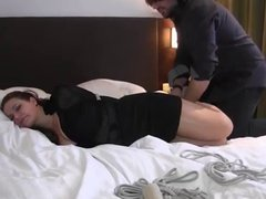 friends panties gagged and hogtied on bed