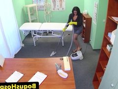 Doctor screws cleaning lady over office desk