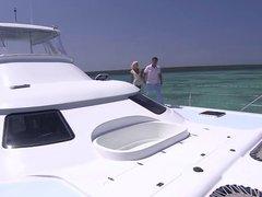 Fucks skinny blonde on his boat