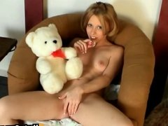 Rubber soother in teen pussy