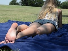 Candid college feet at the park 03