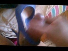 client's blue slingback heel jizz