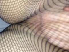 Little bit of sexy pussy masturbation in  fishnets