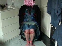Humiliated under satin dress