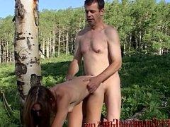 Hot Skinny Brunette MILF Thena Sky Fucks Old Man Outdoors