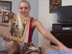 nice blonde bj with cumshot on tongue