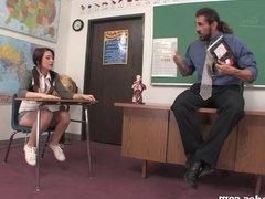 Naughty Schoolgirl Seduces Her Teacher!