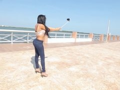 Transsexual beauty Lizzy makes selfie and solo