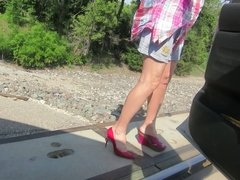 modeling my legs and heels on the tracks