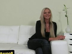 Tittyfucking euro babe jizzed on at casting