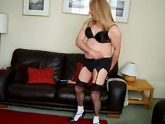 sissy neville shows off his lingerie and buttplug