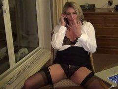 nice mature Secretary fondles her pussy
